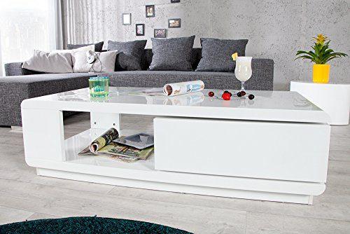 Moderner Design Couchtisch FORTUNA hochglanz weiß