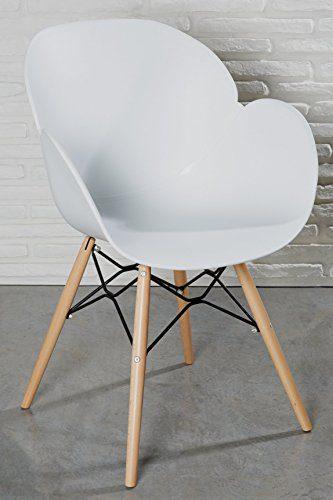 Moderner Designstuhl weiß Kunststoff Esszimmerstuhl Stuhl Wohnzimmerstuhl Retro Holz