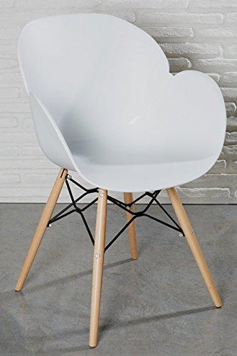 moderner designstuhl wei kunststoff esszimmerstuhl stuhl wohnzimmerstuhl retro holz m bel24. Black Bedroom Furniture Sets. Home Design Ideas