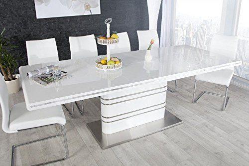 Moderner Yacht Design Esstisch Weiß Hochglanz Ausziehbar 160 - 220 cm von Casa Padrino - Esszimmer Tisch