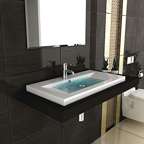 Modernes badezimmer aufsatzbecken aus mineralguss hochglanz waschbecken becken 90 cm breit g ste - Badezimmer becken ...