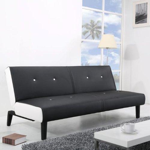 NEG Design Schlafsofa HELIOS (schwarz/weiß) mit Napalon-Leder-Bezug Klappsofa, 3-Sitzer, Liegefläche 179x108cm, sehr bequem