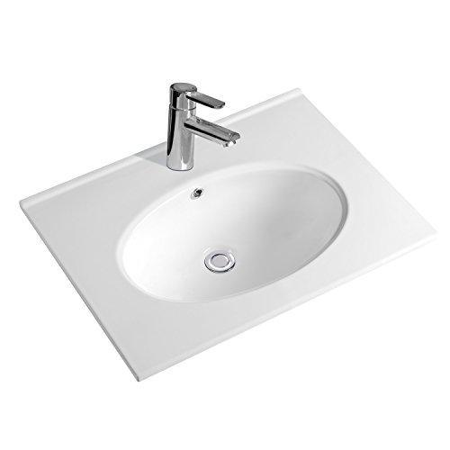 NEG Design Waschbecken Uno59E (Breite 60cm), Einbau-/Aufsatz-Waschschale/Waschtisch mit breitem Rand und Nano-Beschichtung