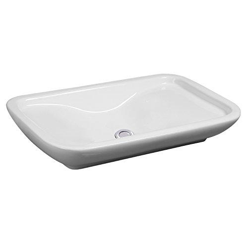 NEG Waschbecken Uno31A (eckig/abgerundet), Aufsatz-Waschschale/Waschtisch (weiß) mit flachem Rand und Nano-Beschichtung