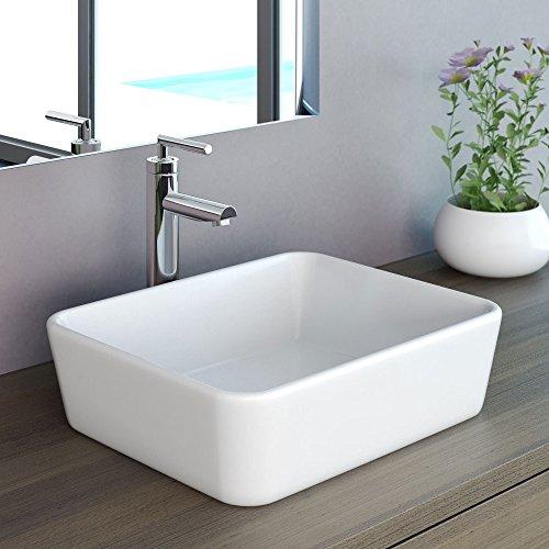neg waschbecken uno32a eckig aufsatz waschschalewaschtisch wei mit schmalem rand und nano. Black Bedroom Furniture Sets. Home Design Ideas