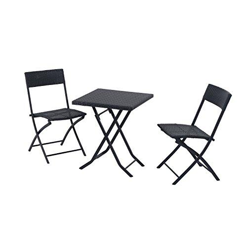 outsunny gartenm bel polyrattan bistro set balkonm bel garnitur sitzgruppe 3 teilig schwarz. Black Bedroom Furniture Sets. Home Design Ideas