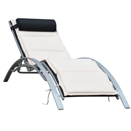 Outsunny® Sonnenliege Gartenliege Gartenstuhl Relaxsessel Liegestuhl Alu verstellbar (Schwarz)
