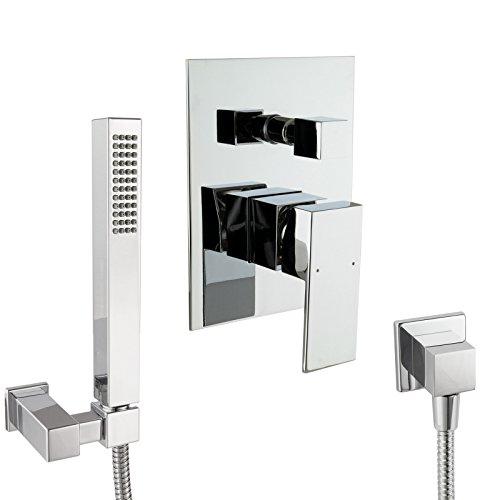 PaulGurkes Design Dusch-/Wannen Komplett Set eckig ohne Einlass , Unterputz Set mit Handbrause
