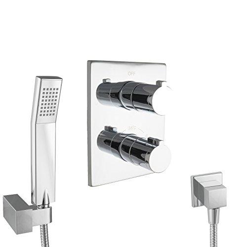 PaulGurkes Design Dusch-/Wannen Thermostat Komplett Set eckig ohne Einlass , Unterputz Set mit Handbrause