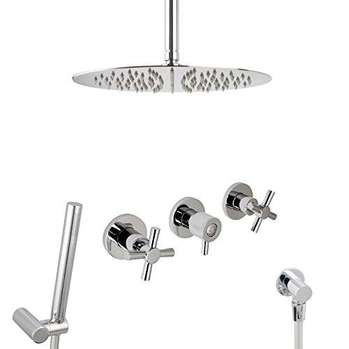 PaulGurkes Design Kreuzgriff Regendusche Komplettset Messing verchromt rund Unterputz Duschset mit 30 cm Duschkopf