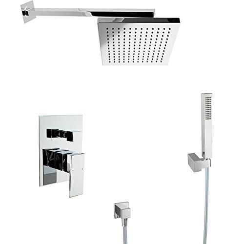 PaulGurkes Design Regendusche Komplett Set eckig Unterputz Duschset mit 20cm Duschkopf