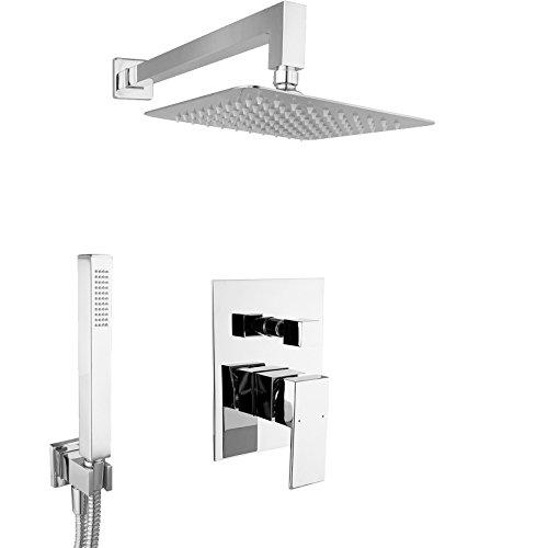PaulGurkes Design Regendusche Komplett Set eckig Unterputz Duschset mit 20cm Edelstahlduschkopf hochglänzend extra flach
