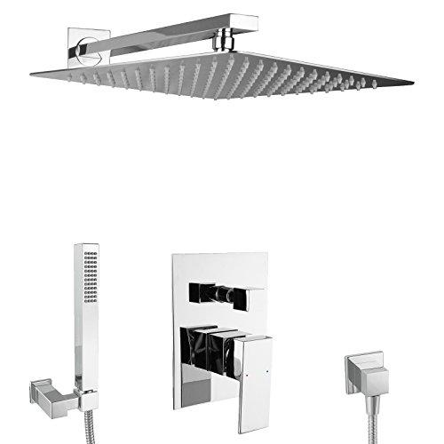 PaulGurkes Design Regendusche Komplett Set eckig Unterputz Duschset mit 40 cm Edelstahlduschkopf hochglänzend, extra dünn