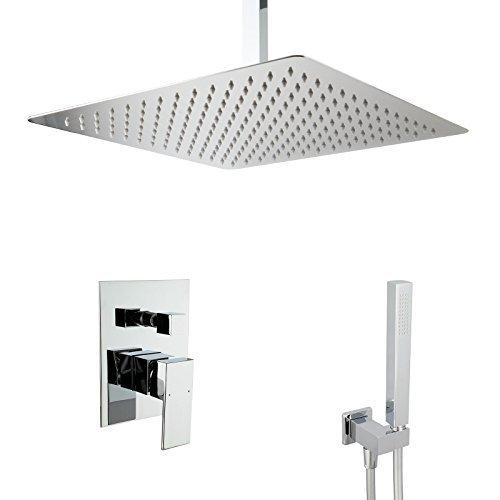 PaulGurkes Design Regendusche Komplettset Messing verchromt eckig Unterputz Duschset mit 40 cm Duschkopf