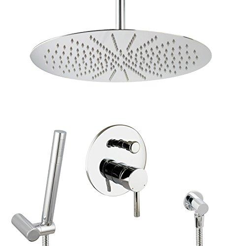 PaulGurkes Design Regendusche Komplettset Messing verchromt rund Unterputz Duschset mit 40 cm Duschkopf