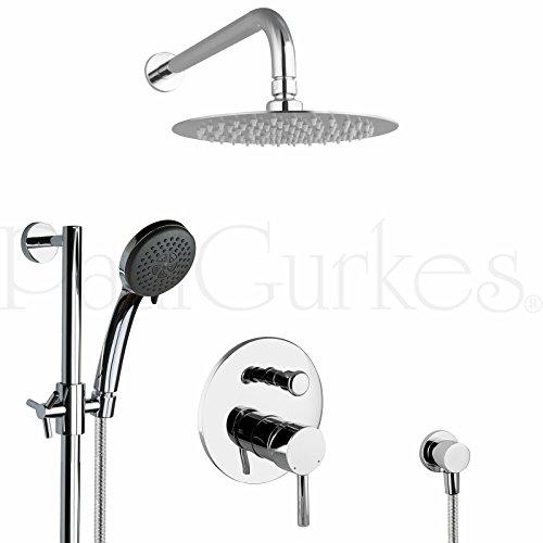 PaulGurkes Design Regendusche Komplettset rund Unterputz Duschset mit Duschstange