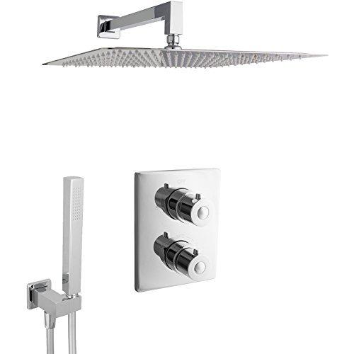 PaulGurkes Design Regendusche komplettes Thermostat Unterputz Duschset eckig mit 40 cm Duschkopf