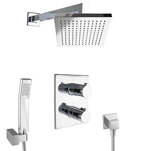 PaulGurkes Design Regenduschset eckig mit Thermostat Unterputz Armatur