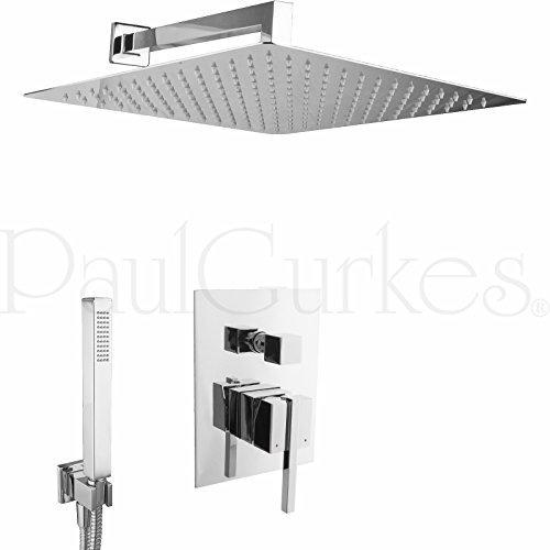 PaulGurkes Design XXL Regendusche Komplettset Messing verchromt eckig Unterputz Duschset mit 40 cm Duschkopf