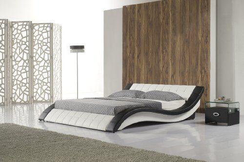 Polsterbett R0WB 180x200 cm Schwarz-Weiß aus hochwertigem Kunstleder