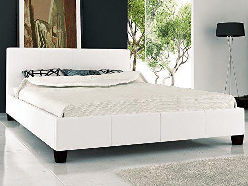 Polsterbett Weiß 180x200 mit Lattenrost Bett Doppelbett Ehebett (Weiß)