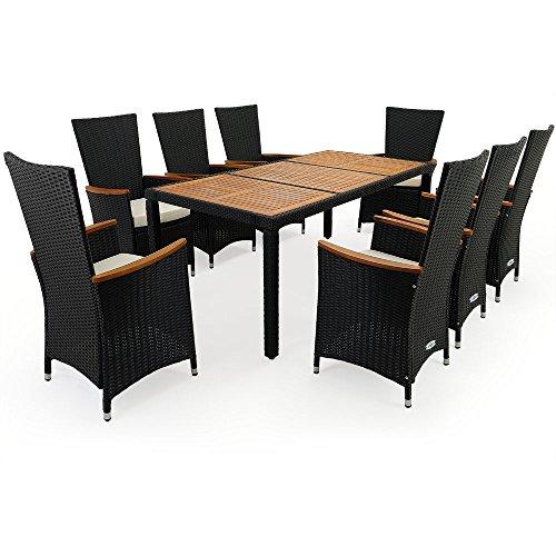 polyrattan sitzgruppe 8 1 stapelbare st hle mit armlehnen aus akazienholz tisch aus. Black Bedroom Furniture Sets. Home Design Ideas