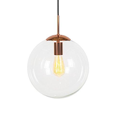 QAZQA Design, Modern Pendelleuchte Ball 30 klar Kupfer, Glas, Metall, Kugelförmig / LED geeignet E27 Max. 1 x 60 Watt