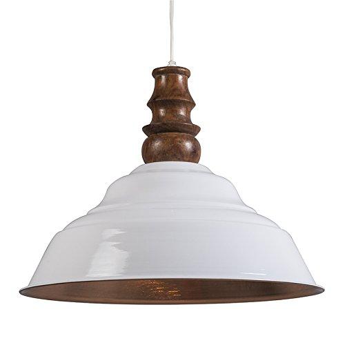 QAZQA Design,Industrie,Modern,Retro Pendelleuchte Glam weiß mit kupfer Holz,Metall Rund / LED geeignet E27 Max. 1 x 40 Watt