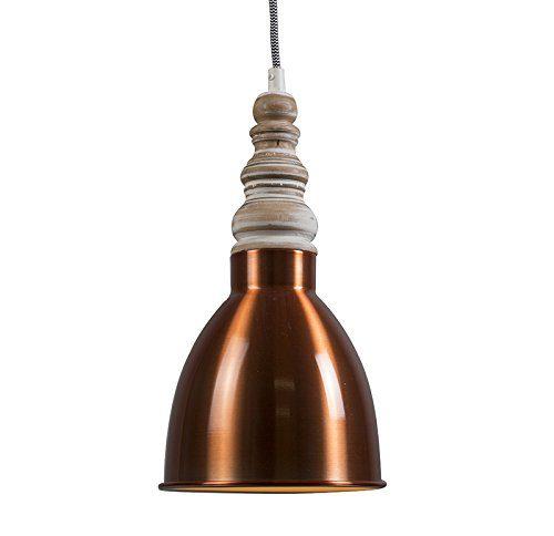 QAZQA Design,Modern Pendelleuchte Oak kupfer Aluminium,Holz Rund / LED geeignet E27 Max. 1 x 60 Watt