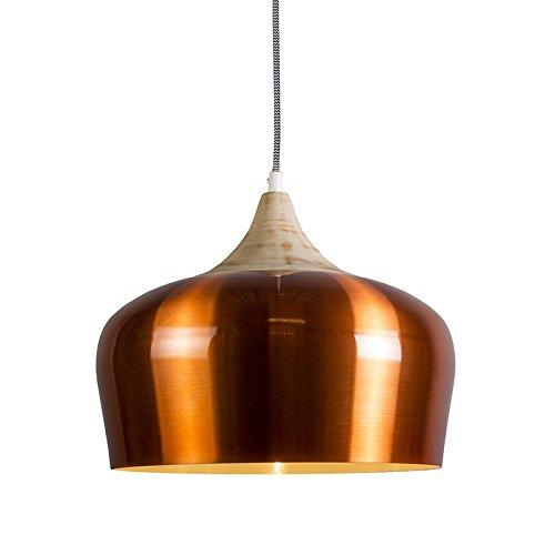 QAZQA Design,Modern Pendelleuchte Pine kupfer Aluminium,Holz Rund / LED geeignet E27 Max. 1 x 60 Watt