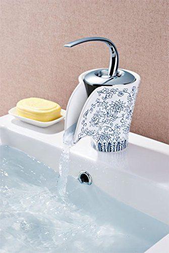 Retro Bad Waschbecken Einhebel Armatur Wasserfall Chrom Weiss Keramik Floral