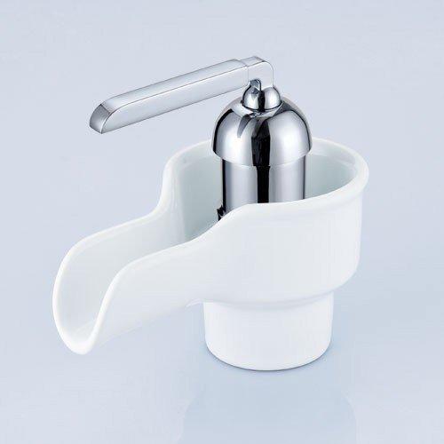 Retro Bad Waschbecken Einhebel Wasserfall Armatur Chrom Weiss Keramik