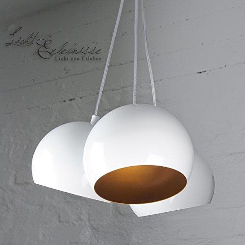 Retro Hängeleuchte in weiß gold 2x GU10 Pendellampe für Innen Loft Deckenleuchte Wohnzimmer Esszimmer Küche