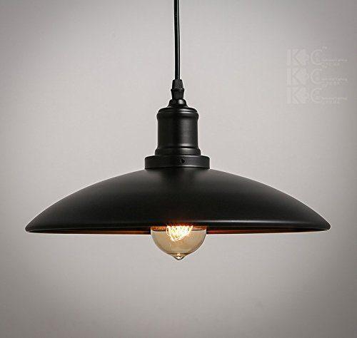 Retro Industrielampe Hängeleuchte Lampenschirm Höhenverstellbar Elegante Regenschirm Form ø31.5cm * 16cm (schwarz)