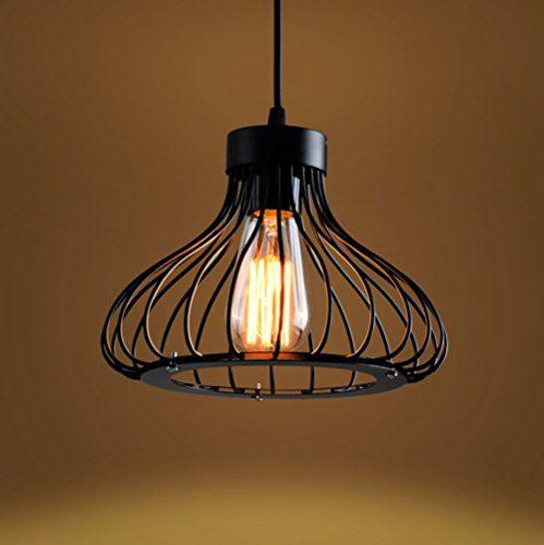 Retro Metall Pendelleuchte Hängeleuchte Käfig Vintage Industrie Deckenlampe Antike Cage Deckenluechte E27 Edison Kronleuchter Deckenbeleuchtung