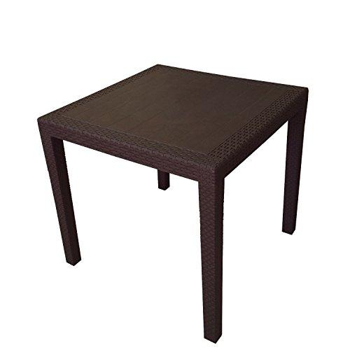 robuster gartentisch rattan optik kunststoff campingtisch beistelltisch mokka 79x79cm m bel24. Black Bedroom Furniture Sets. Home Design Ideas