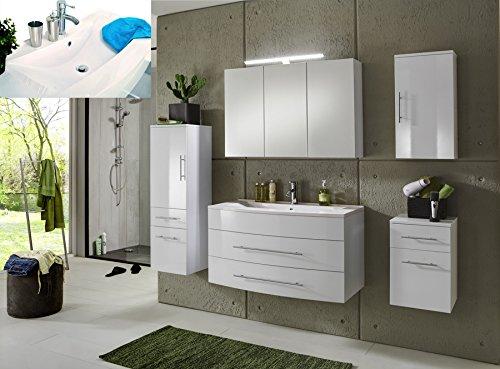 sam badm bel set basel 5 teilig hochglanz wei 100 cm mineralgussbecken softclose funktion. Black Bedroom Furniture Sets. Home Design Ideas