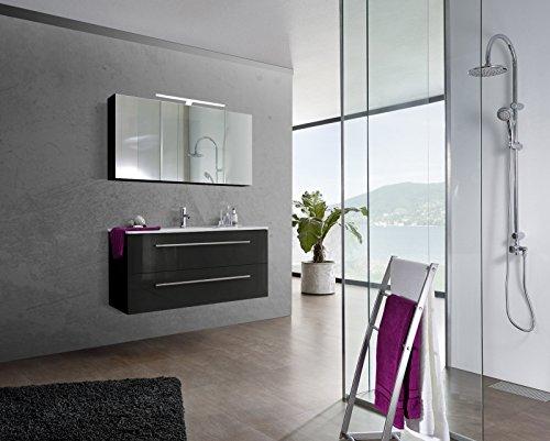sam design badm bel set verena 120 cm in hochglanz schwarz 2tlg designer badezimmer mit. Black Bedroom Furniture Sets. Home Design Ideas