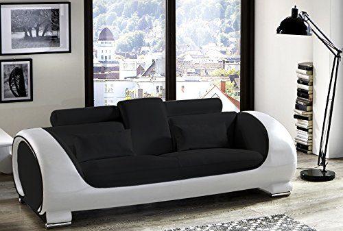 SAM® Design Couch, Sofa Vigo 3-Sitzer, 230 cm Länge, in schwarz weiß mit bequemen verstellbaren Kopfstützen, Polstercouch mit Samolux®-Bezug, mit edlen chromfarbenen Füßen