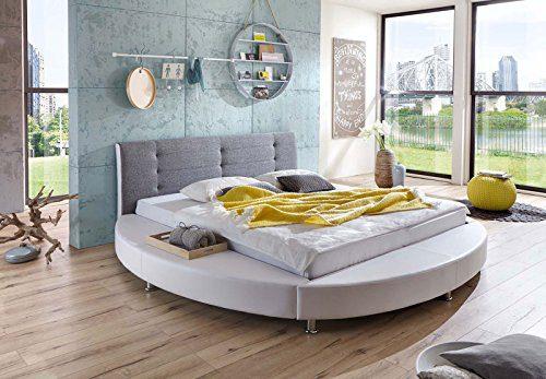 SAM® Design Rundbett Bebop 180 x 200 cm Bett in weiß /grau Kopfteil abgesteppt mit Chromfüßen auch als Wasserbett verwendbar