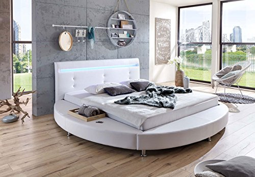 sam design rundbett bebop 180 x 200 cm bett in wei mit intergrierter beleuchtung led kopfteil. Black Bedroom Furniture Sets. Home Design Ideas