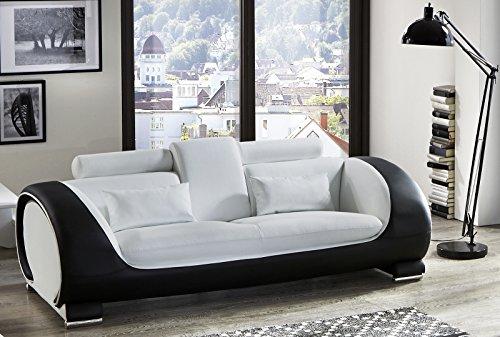 sam design sofa vigo 3 sitzer in wei schwarz mit bequemen verstellbaren kopfst tzen. Black Bedroom Furniture Sets. Home Design Ideas