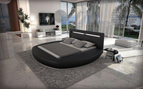 SAM® Innocent Rundbett Riva 180 cm schwarz Kopfteil mit Beleuchtung modernes abgerundetes Design teilzerlegt Auslieferung durch Spedition
