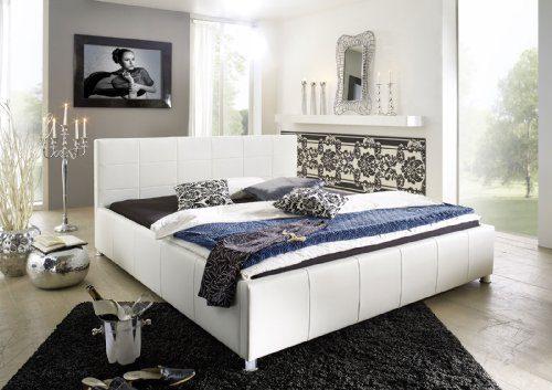 SAM® Kinder- und Jugendbett Polsterbett Kira, 100 x 200 cm in weiß, gestepptes Bett mit stilvollen chromfarbenen Füßen, Bettgestell auch als Wasserbett geeignet