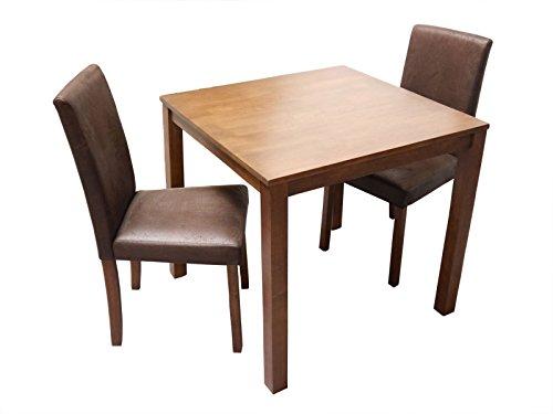 sam massive 3tlg tischgruppe essgruppe tom nussbaumfarbig gelt im antik look aus massivholz. Black Bedroom Furniture Sets. Home Design Ideas
