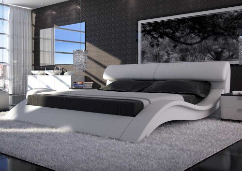 sam polsterbett allure in wei 180 x 200 cm geschwungene. Black Bedroom Furniture Sets. Home Design Ideas