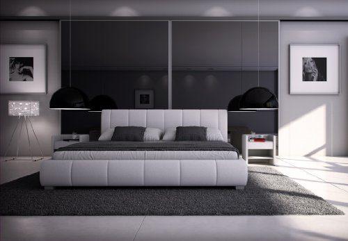 SAM® Polsterbett Innocent Designbett Lumo, 180 x 200 cm in weiß, Kopfteil im modernen abgesteppten Design, Bettgestell auch als Wasserbett geeignet