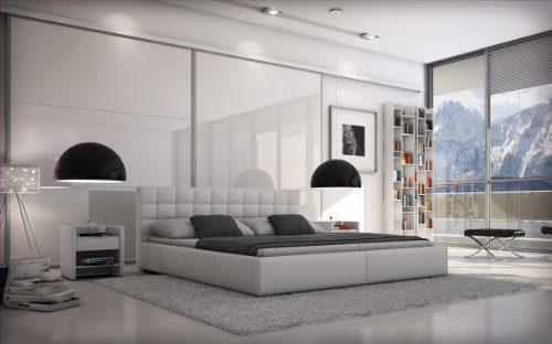 SAM® Polsterbett Innocent Designbett Miso 200 x 220 cm in weiß, Kopfteil im modernen abgesteppten Design, Bettgestell in Überlänge, auch als Wasserbett geeignet