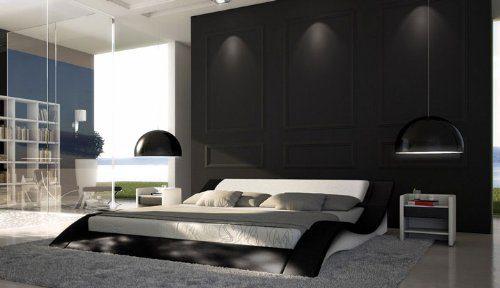 SAM® Polsterbett Innocent Santucci 160 x 200 cm schwarz/weiß geschwungene Seitenteile Kopfteil gepolstert Wasserbett geeignet teilzerlegt Auslieferung durch Spedition