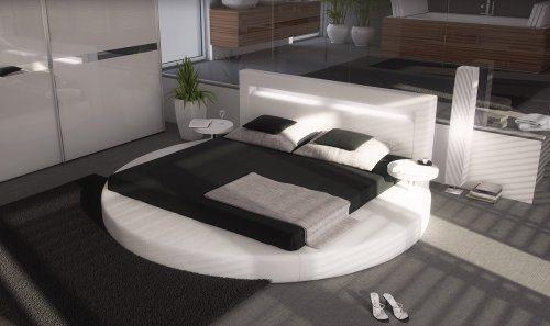 SAM® Polsterbett Rundbett Sanctuary in Weiß 180 x 200 cm Kopfteil mit Beleuchtung inklusiv 2 Nachttischablagen modernes Design Wasserbett geeignet teilzerlegt Auslieferung durch Spedition
